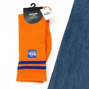 NEW Cotton On orange Fanta pair of socks